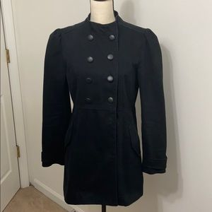 Military style black jacket coat